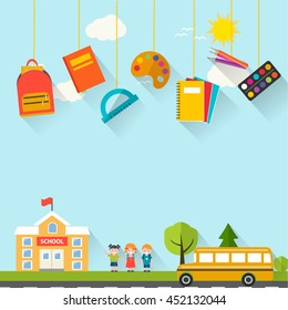 Back to school background with hanging supplies set, children, school building and bus, vector illustration. Can be used for web banner, backdrop,  ad, promotion. Layout template