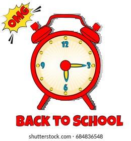 Back to school background with pop art alarm clock
