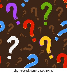 Back to school background. Question mark seamless colorful  pattern. FAQs frequently asked questions. Business Concept Idea problem sign attention warning attention Funny Fun colour idea seam