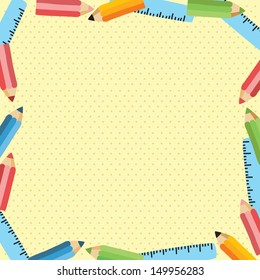 back to school - background with ruler and pencil