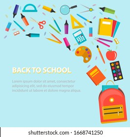 Back to school background with school supplies set, vector illustration