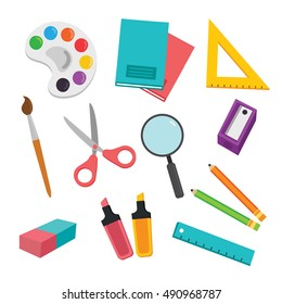 Back to school background with school supplies set, vector illustration.