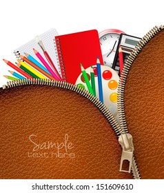 Back to school. Background with school supplies and zipper. Vector.