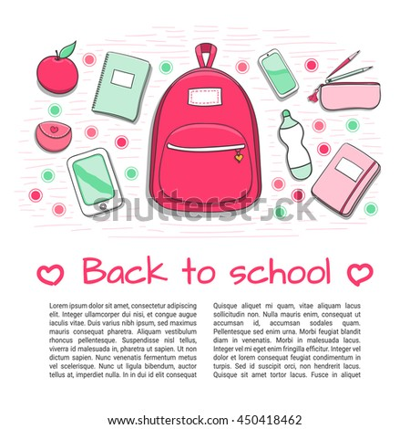 f0fb040a55 Back to school background with teenager girl s school supplies. Hand drawn  school poster template for