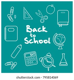 Back to school background vector elements.