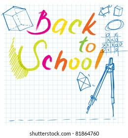 back to school background (with doodles on notepaper)