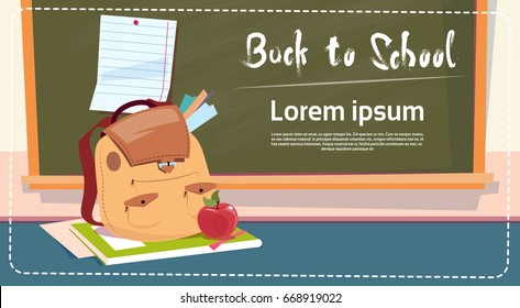Back To School Backpack Over Class Board Education Banner Flat Vector Illustration