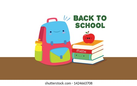 Back to school, school bag, water sipper, books and apple. Vector Illustration