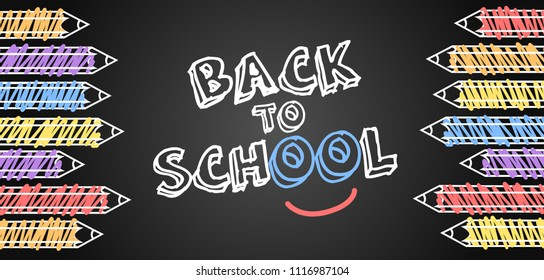 Back to School banner background vector, black board with pencils