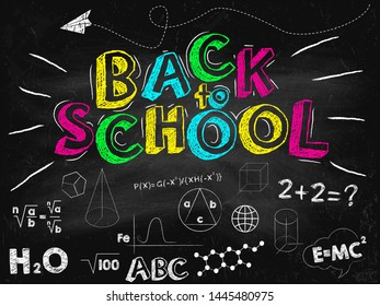 Back to school banner. Black school board with inscriptions. Vector illustration.