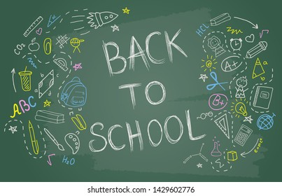 Back to school banner with blackboard. Vector background