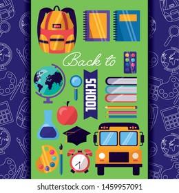 back to school banner bus bag notebook clock apple chemistry flask