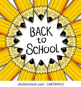 Back to school banner. Cartoon cute pencil banner with place for your text.