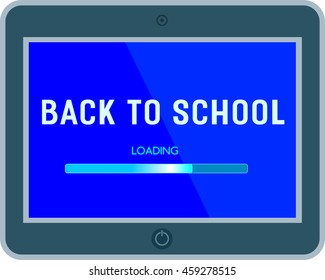 Back to school banner concept. Idea for typography welcome poster with element of border frame. Announcement text, loading bar on display screen. Background of school invitation. Vector illustration