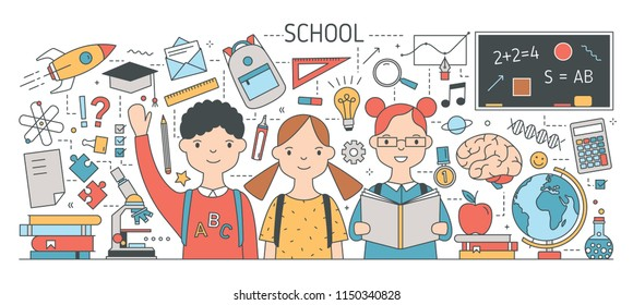 Back to school banner with cute happy children or pupil surrounded by textbooks, stationery, science, study and education symbols. Bright colored vector illustration in modern line art style.