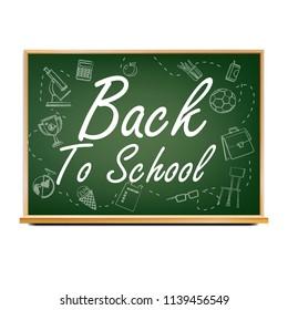 Back To School Banner Design Vector. Green. Classroom Blackboard. Sale Poster. 1 September. Education Related. Realistic Illustration