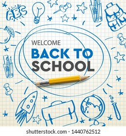 Back to school banner, doodle on checkered paper background, vector illustration.