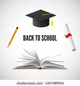 Back to school banner. Education and knowledge illustration. Vector