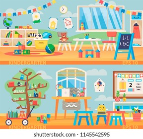 Back to school banner illustration. Kindergarten education interior. Preschool classroom with desk, chairs and toys. Learning and study place horizontal back banner. Children school vector background.
