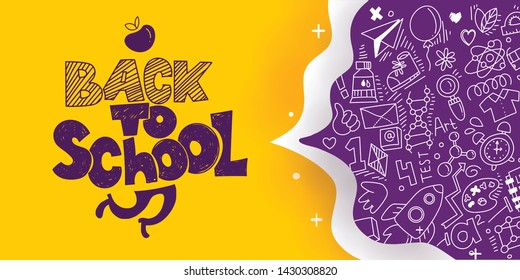 Back to School banner with line art icons of education, science. Vector hand drawn doodle style illustration. Apple as symbol of education and ink drawings. Runnig legs in logo.