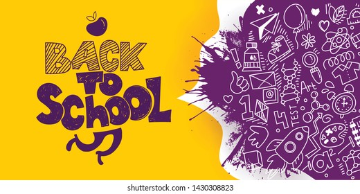 Back to School banner with line art icons of education, science. Vector hand drawn doodle style illustration. Apple as symbol of education and ink drawings. Runnig legs in logo. Splash ink.