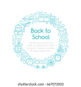 Back to School banner from line art icons of education, science objects and office supplies. Creative design frame from doodle symbols.