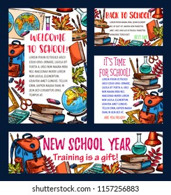 back to school banner of new school year celebration template school supplies sketch poster and