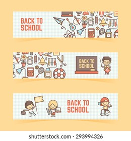 back to school banner outline icon and character style