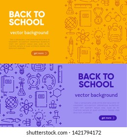 Back to school banner with outline icons of school supplies. Welcome back to school brochure. Colorful yellow and violet banner. Learning and education. Vector illustration, eps 10.