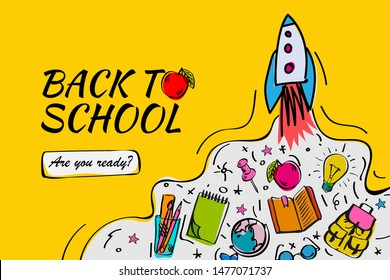 Back to school banner, poster with doodles, vector illustration