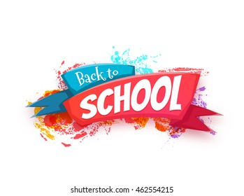 Back to school banner with ribbon. Vector illustration.