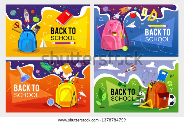 Back to school banner set. Colorful back to school templates for invitation, poster, banner, promotion,sale etc. School supplies cartoon illustration. Vector back to school design templates.