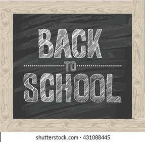 Back to school banner template with  different school objects. Hand drawn lettering back to school