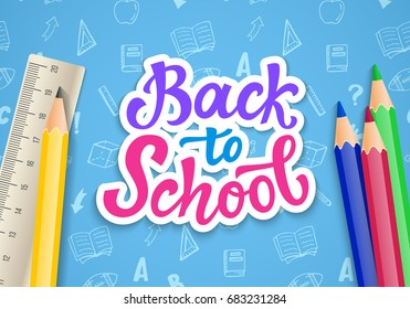 Back to school banner template with hand drawn ink modern calligraphy. Lettering logo badge. Vector illustration.