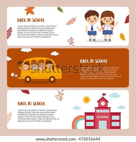 Back School Banner Template Illustration Happy Stock Vector (Royalty ...
