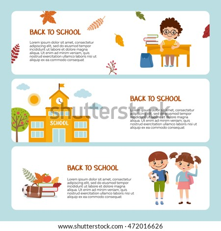 Back School Banner Template Pupil School Stock Vector (Royalty Free ...