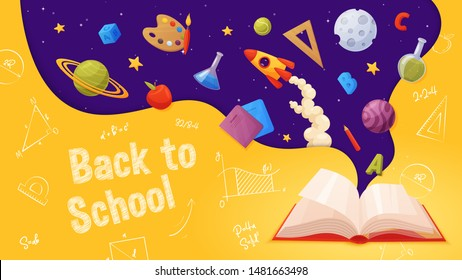 Back to school banner. Template for sale page design. Cartoon and colorful style. Open book with flying elements: planets, rocket, school supplies, stars, letters, paint, ruler, notebook, pencil.