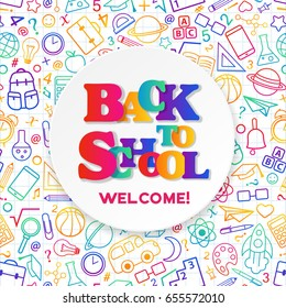 Back to School banner with texture from colorful line art icons of of education, science objects and office supplies on the notebook background.