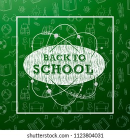 Back to School banner with texture from line art icons of education, science objects and office supplies on the green background.