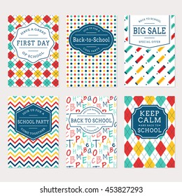 Back to school banners. Colorful templates for sale labels, school party invitations and holiday cards. Vector set.