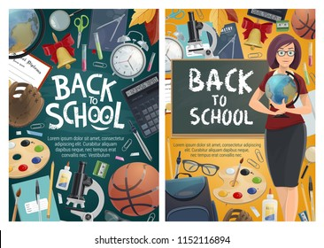 Back to school banners with geography teacher and blackboard, stationery and sport items. Basketball and globe, alarm clock and notebook, backpack and microscope, baseball glove and flasks vector