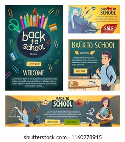 Back to school banners with geography teacher and student at chalkboard during geometry lesson. Color pencils and scissors, rucksack and stationery, microscope for biology and sport items vector