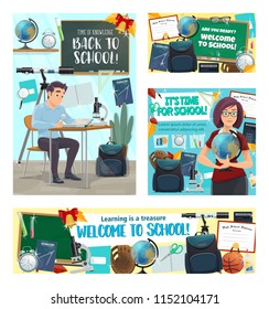 Back to school banners with student at desk and teacher with globe, stationery supplies. Geography or biology class, microscope and backpack, baseball glove and basketball, alarm clock and bell vector