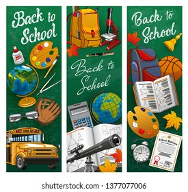 Back to School banners, student supplies and classes items on chalkboard background. Vector back to school stationery, pen and pencil with school bag and bus, microscope and telescope