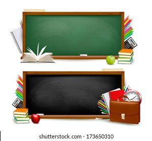 Back to school.Two banners with school supplies. Vector.