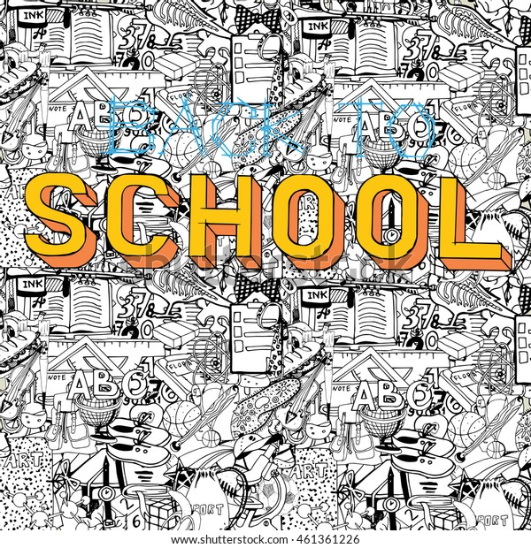 Back to School big doodles collage. Hand drawn illustration on education theme. Comics style.