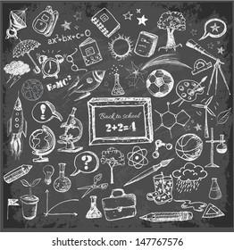 Back to school big doodles set on blackboard. Vector illustration.