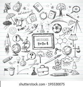 Back to school big doodles set on lined paper. Vector illustration.