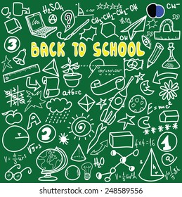 Back to school big doodles set isolated on green, cartoon vector illustration design elements