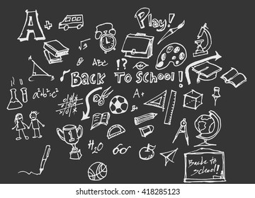 Back to school big doodles set on blackboard. Vector illustration.